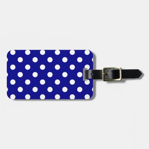 Polka Dots Large - White on Dark Blue Bag Tag