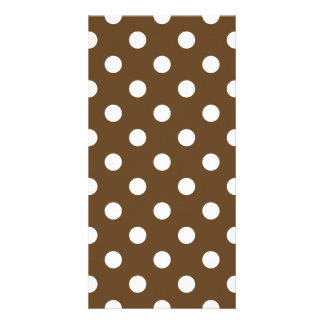 Polka Dots Large - White on Dark Brown Photo Card