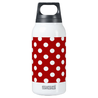 Polka Dots Large - White on Dark Candy Apple Red Insulated Water Bottle