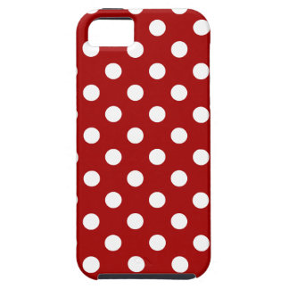 Polka Dots Large - White on Dark Candy Apple Red iPhone SE/5/5s Case