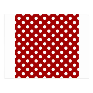 Polka Dots Large - White on Dark Candy Apple Red Post Cards