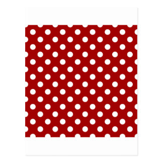 Polka Dots Large - White on Dark Candy Apple Red Post Card