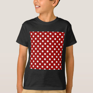 Polka Dots Large - White on Dark Candy Apple Red T-Shirt
