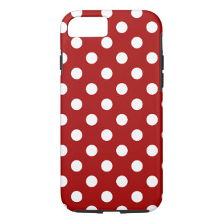 Polka Dots Large - White on Dark Candy Red iPhone 7 Case
