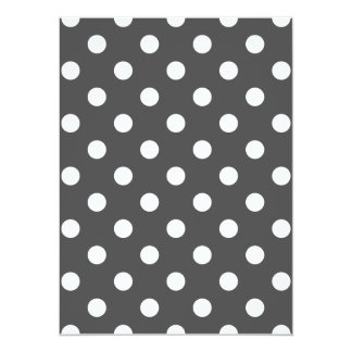 Polka Dots Large - White on Dark Gray 5.5x7.5 Paper Invitation Card
