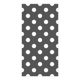 Polka Dots Large - White on Dark Gray Personalized Photo Card