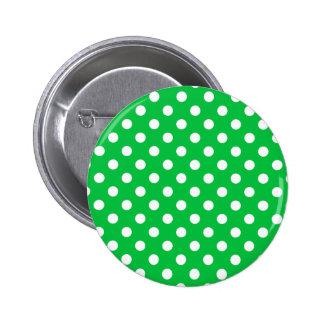 Polka Dots Large - White on Dark Pastel Green Pinback Button