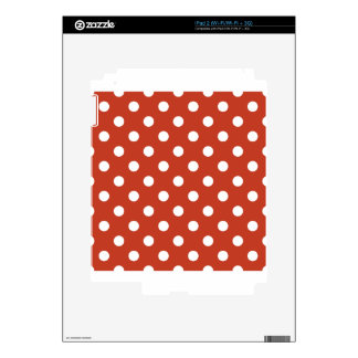 Polka Dots Large - White on Dark Pastel Red Skins For iPad 2