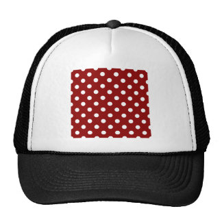Polka Dots Large - White on Dark Red Trucker Hat