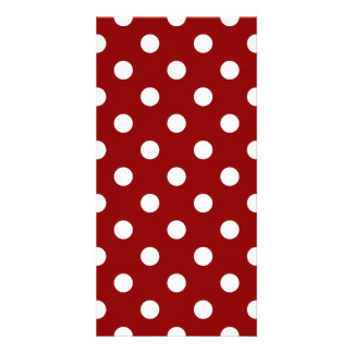 Polka Dots Large - White on Dark Red Photo Card