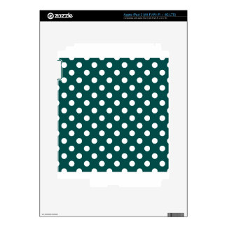 Polka Dots Large - White on Deep Jungle Green iPad 3 Skin