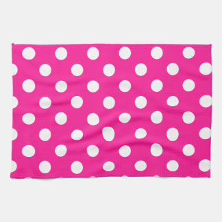 Polka Dots Large - White on Deep Pink Hand Towels