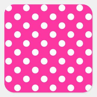 Polka Dots Large - White on Deep Pink Sticker
