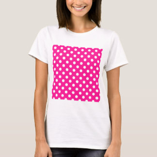Polka Dots Large - White on Deep Pink T-Shirt