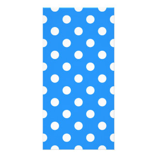 Polka Dots Large - White on Dodger Blue Photo Card