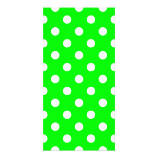 Polka Dots Large - White on Electric Green Photo Card