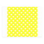Polka Dots Large - White on Electric Yellow Postcards