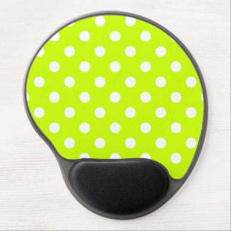 Polka Dots Large - White on Fluorescent Yellow Gel Mouse Pad