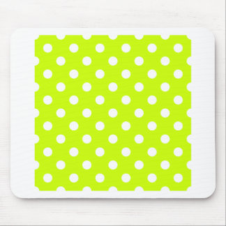 Polka Dots Large - White on Fluorescent Yellow Mouse Pad