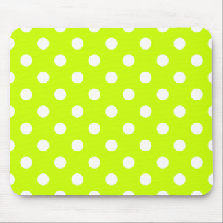 Polka Dots Large - White on Fluorescent Yellow Mouse Pads
