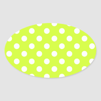 Polka Dots Large - White on Fluorescent Yellow Oval Sticker