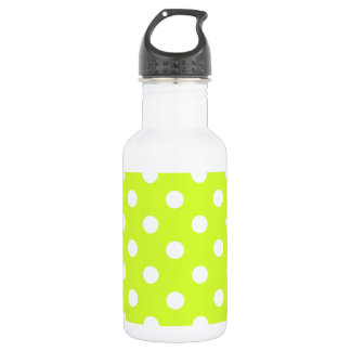 Polka Dots Large - White on Fluorescent Yellow 18oz Water Bottle