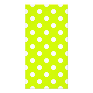 Polka Dots Large - White on Fluorescent Yellow Photo Card