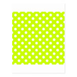 Polka Dots Large - White on Fluorescent Yellow Post Card