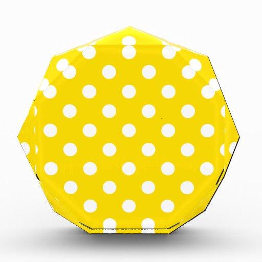Polka Dots Large - White on Golden Yellow Award