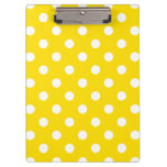 Polka Dots Large - White on Golden Yellow Clipboard