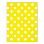 Polka Dots Large - White on Golden Yellow 4.25x5.5 Paper Invitation Card