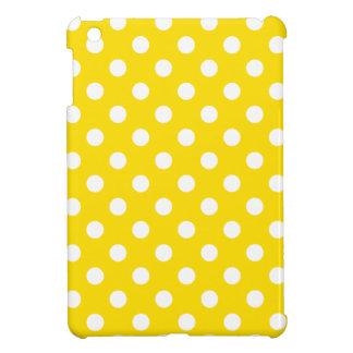Polka Dots Large - White on Golden Yellow iPad Mini Cover