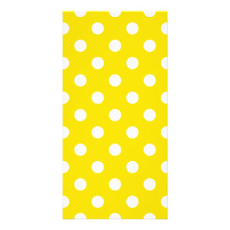 Polka Dots Large - White on Golden Yellow Photo Card