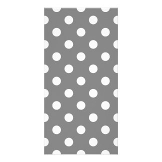 Polka Dots Large - White on Gray Photo Card