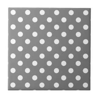 Polka Dots Large - White on Gray Small Square Tile