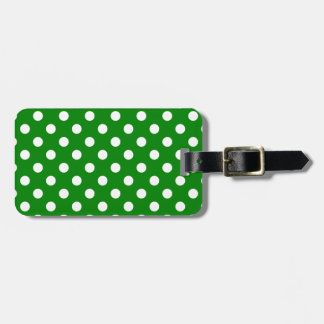 Polka Dots Large - White on Green Luggage Tag