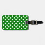 Polka Dots Large - White on Green Tags For Luggage