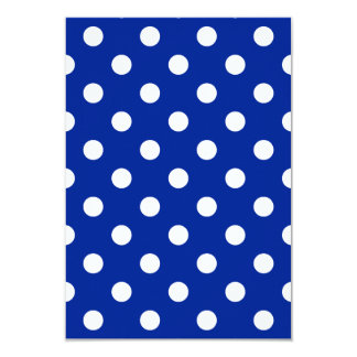 Polka Dots Large - White on Imperial Blue 3.5x5 Paper Invitation Card