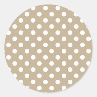 Polka Dots Large - White on Khaki Classic Round Sticker
