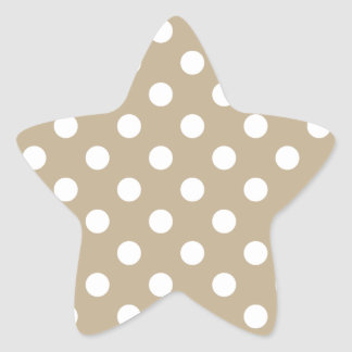 Polka Dots Large - White on Khaki Star Stickers