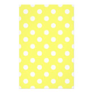 Polka Dots Large - White on Lemon Yellow Stationery