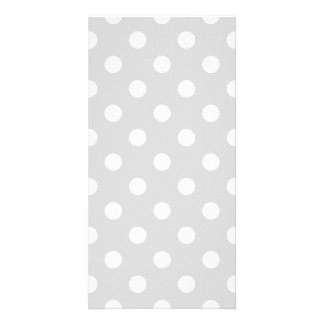 Polka Dots Large - White on Light Gray Photo Card