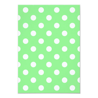 Polka Dots Large - White on Light Green 3.5x5 Paper Invitation Card