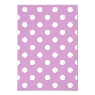 Polka Dots Large - White on Light Medium Orchid 3.5x5 Paper Invitation Card