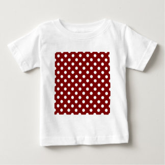 Polka Dots Large - White on Maroon Baby T-Shirt
