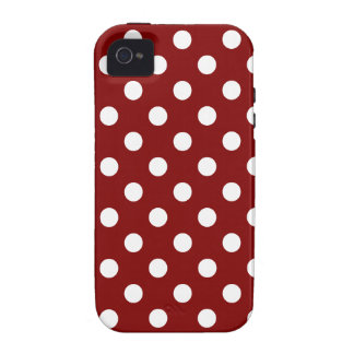 Polka Dots Large - White on Maroon Case-Mate iPhone 4 Cover