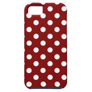 Polka Dots Large - White on Maroon iPhone 5/5S Cases