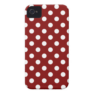 Polka Dots Large - White on Maroon Case-Mate iPhone 4 Case