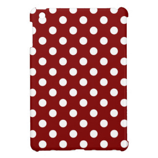 Polka Dots Large - White on Maroon iPad Mini Cover