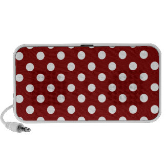 Polka Dots Large - White on Maroon iPhone Speakers